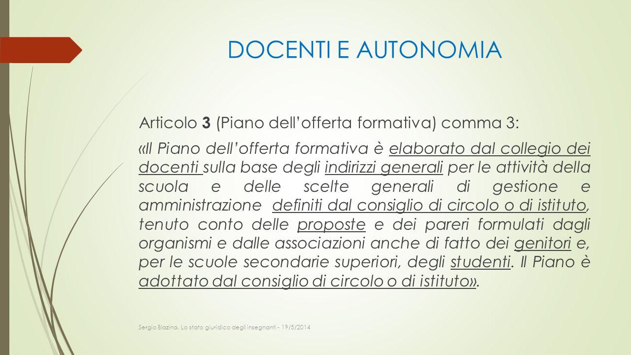 DOCENTI E AUTONOMIA Articolo 3 (Piano dell'offerta formativa) comma 3: «Il Piano dell'offerta formativa è elaborato dal collegio dei docenti sulla bas