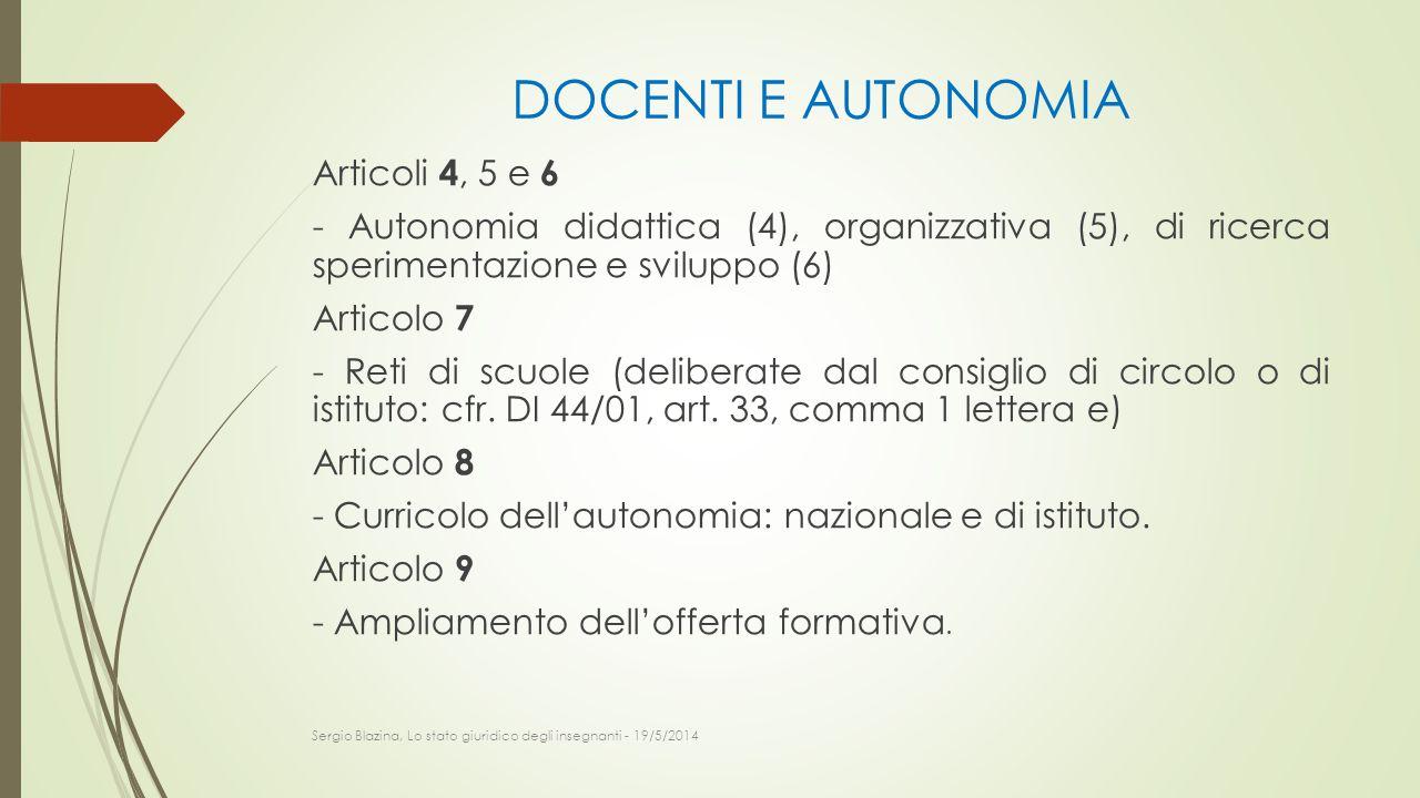 DOCENTI E AUTONOMIA Articoli 4, 5 e 6 - Autonomia didattica (4), organizzativa (5), di ricerca sperimentazione e sviluppo (6) Articolo 7 - Reti di scu