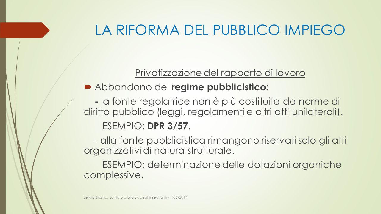 LA RIFORMA DEL PUBBLICO IMPIEGO Privatizzazione del rapporto di lavoro  Abbandono del regime pubblicistico: - la fonte regolatrice non è più costitui