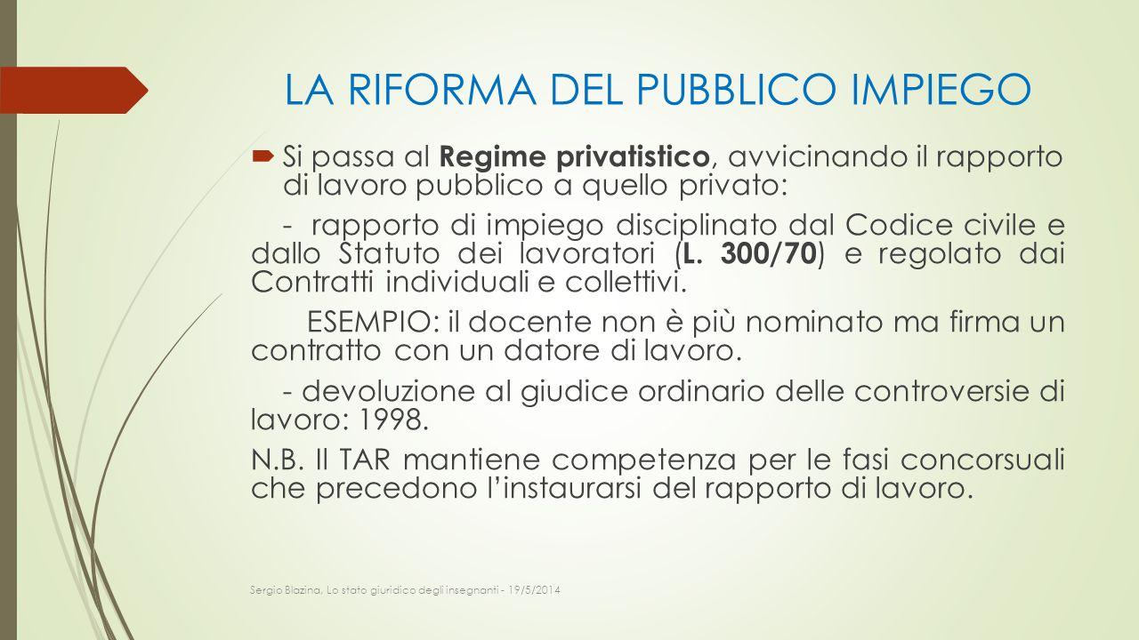 LA RIFORMA DEL PUBBLICO IMPIEGO  Si passa al Regime privatistico, avvicinando il rapporto di lavoro pubblico a quello privato: - rapporto di impiego