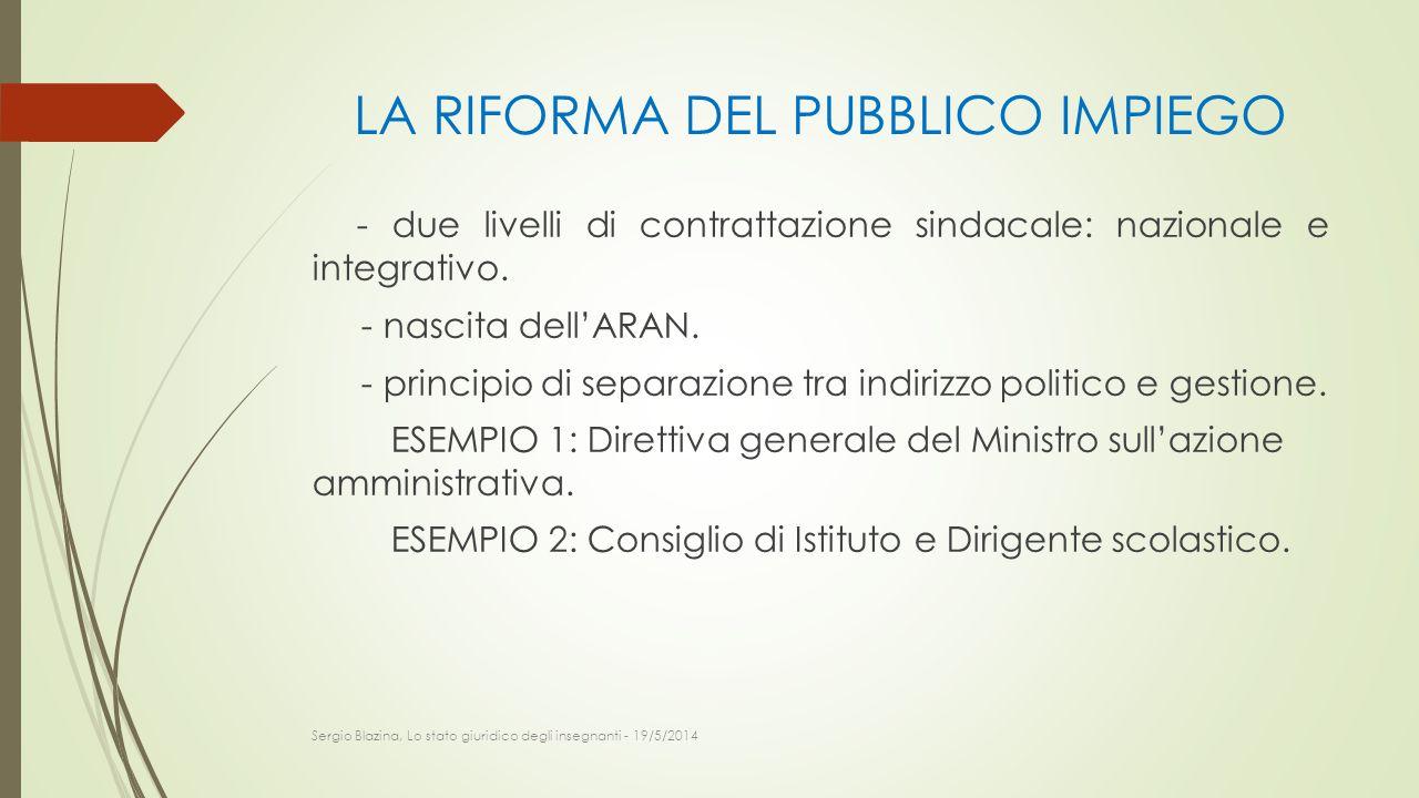 LA RIFORMA DEL PUBBLICO IMPIEGO - due livelli di contrattazione sindacale: nazionale e integrativo. - nascita dell'ARAN. - principio di separazione tr