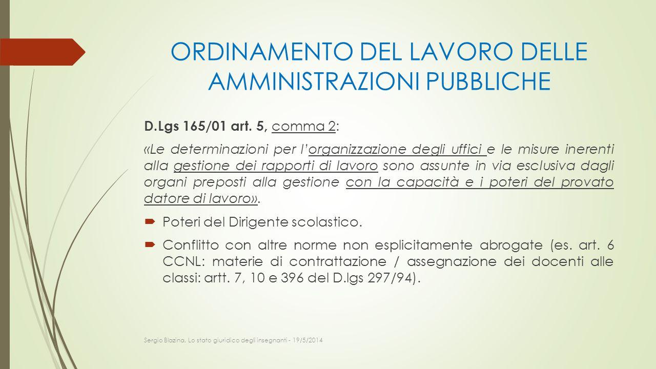 ORDINAMENTO DEL LAVORO DELLE AMMINISTRAZIONI PUBBLICHE D.Lgs 165/01 art. 5, comma 2: «Le determinazioni per l'organizzazione degli uffici e le misure