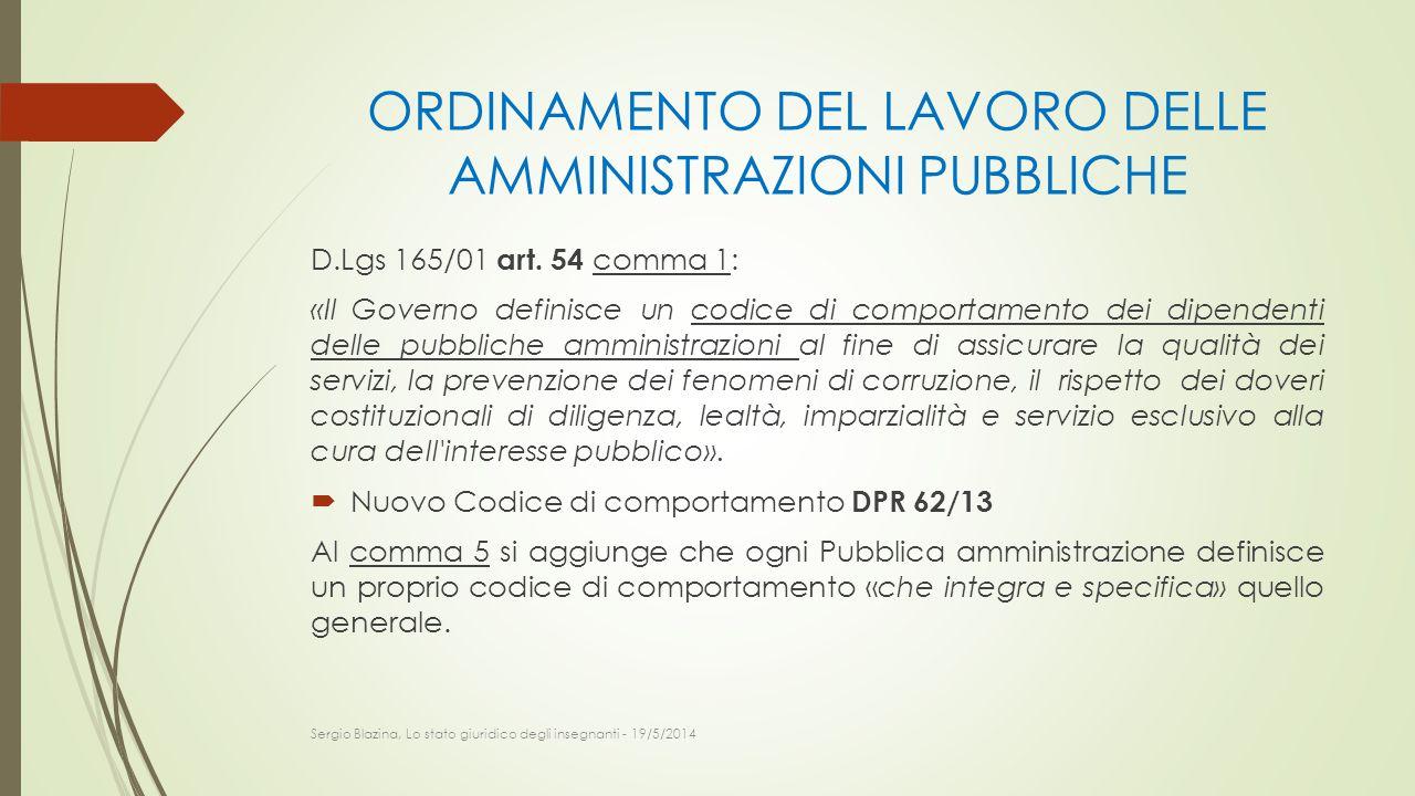 ORDINAMENTO DEL LAVORO DELLE AMMINISTRAZIONI PUBBLICHE D.Lgs 165/01 art. 54 comma 1: «Il Governo definisce un codice di comportamento dei dipendenti d