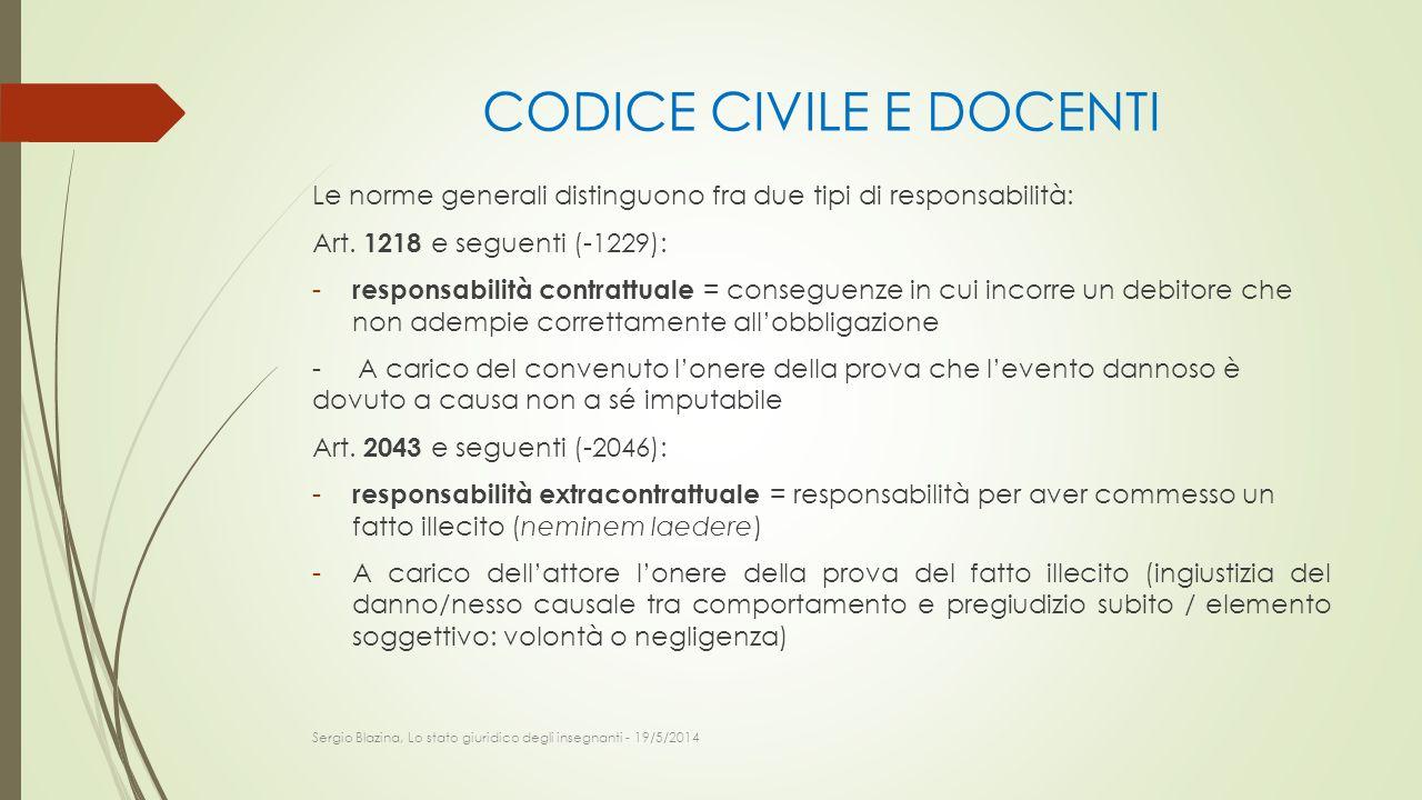 CODICE CIVILE E DOCENTI Le norme generali distinguono fra due tipi di responsabilità: Art. 1218 e seguenti (-1229): - responsabilità contrattuale = co