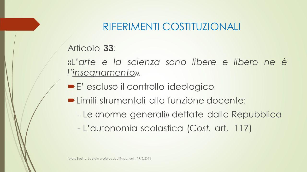 RIFERIMENTI COSTITUZIONALI Articolo 33 : «L'arte e la scienza sono libere e libero ne è l'insegnamento».  E' escluso il controllo ideologico  Limiti