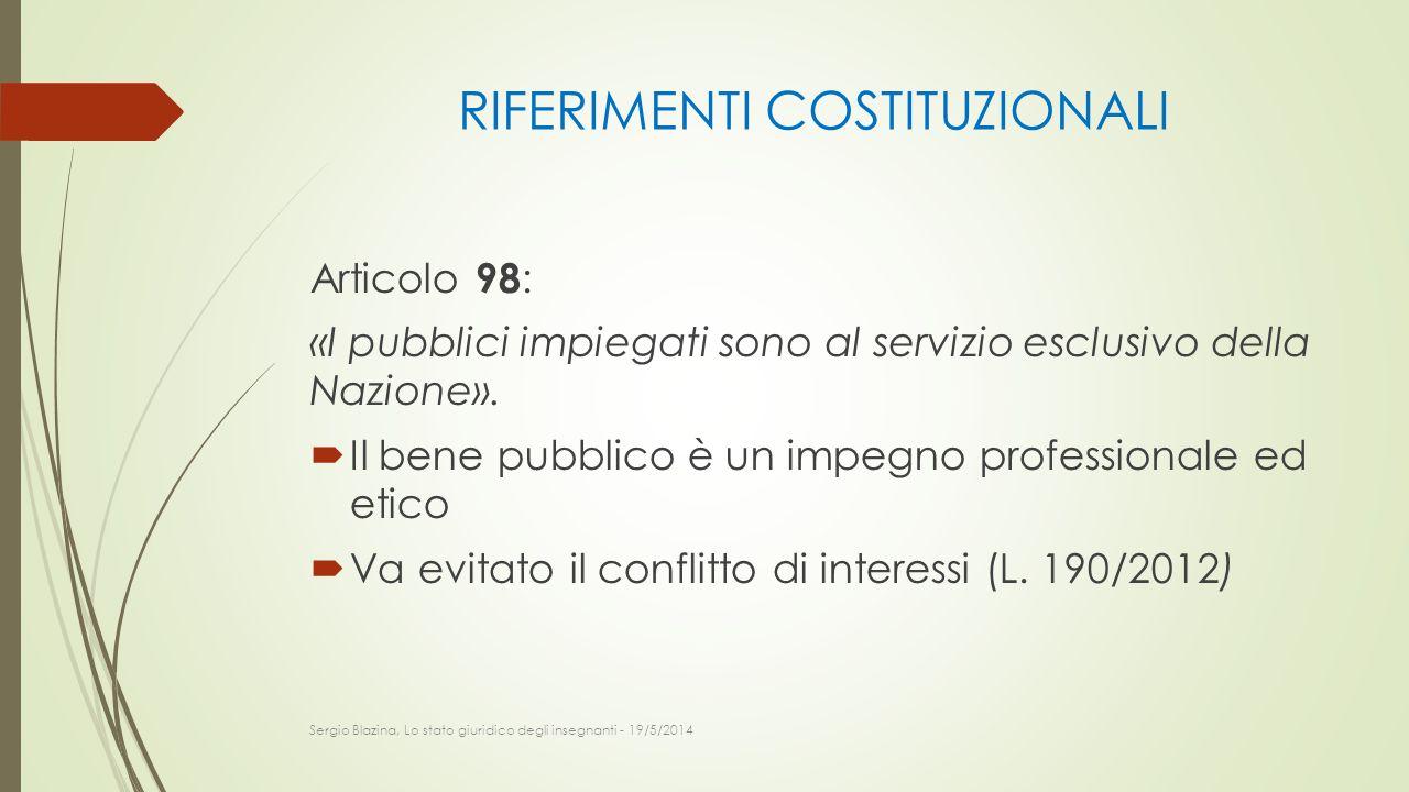 RIFERIMENTI COSTITUZIONALI Articolo 98 : «I pubblici impiegati sono al servizio esclusivo della Nazione».  Il bene pubblico è un impegno professional