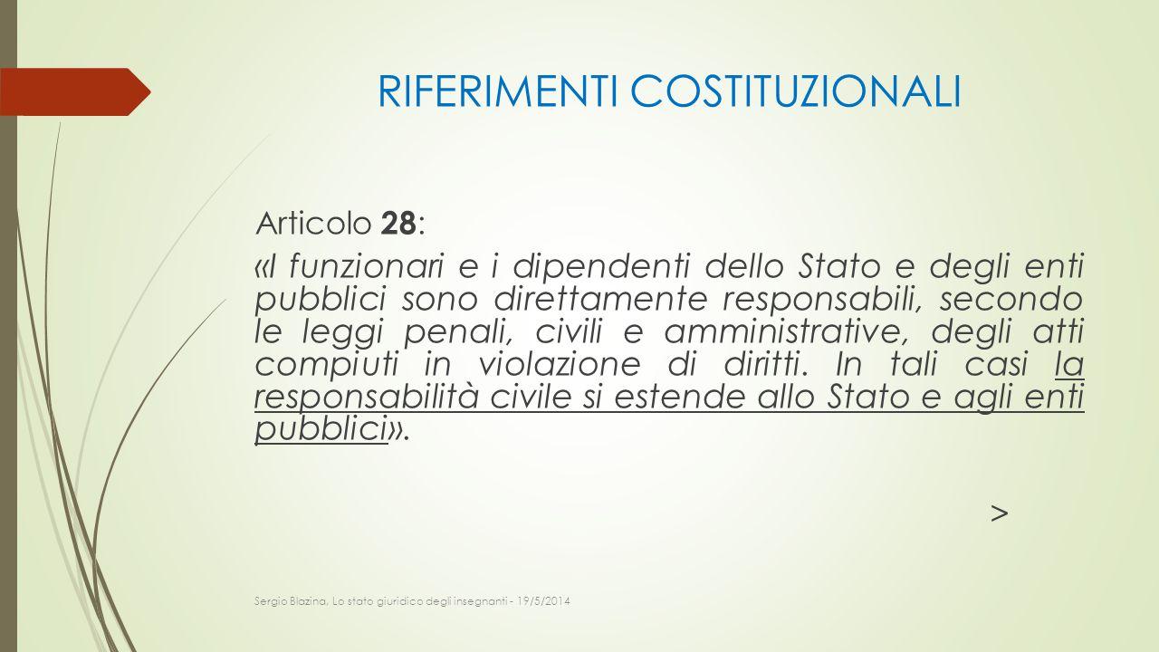 RIFERIMENTI COSTITUZIONALI Articolo 28 : «I funzionari e i dipendenti dello Stato e degli enti pubblici sono direttamente responsabili, secondo le leg