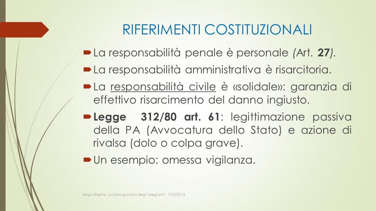 RIFERIMENTI COSTITUZIONALI  La responsabilità penale è personale (Art. 27 ).  La responsabilità amministrativa è risarcitoria.  La responsabilità c
