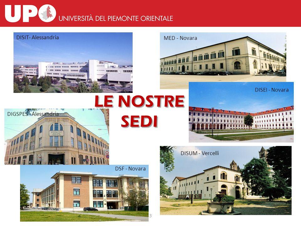 3 LE NOSTRE SEDI DISIT- Alessandria DSF - Novara MED - Novara DISEI - Novara DISUM - Vercelli DIGSPES - Alessandria