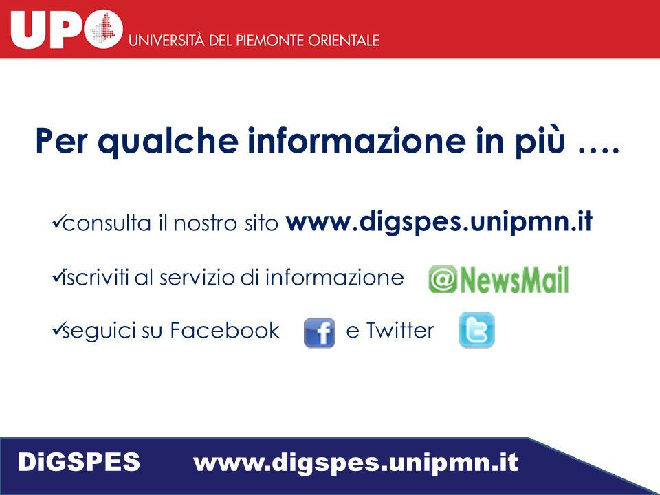 consulta il nostro sito www.digspes.unipmn.it iscriviti al servizio di informazione seguici su Facebook e Twitter Per qualche informazione in più ….
