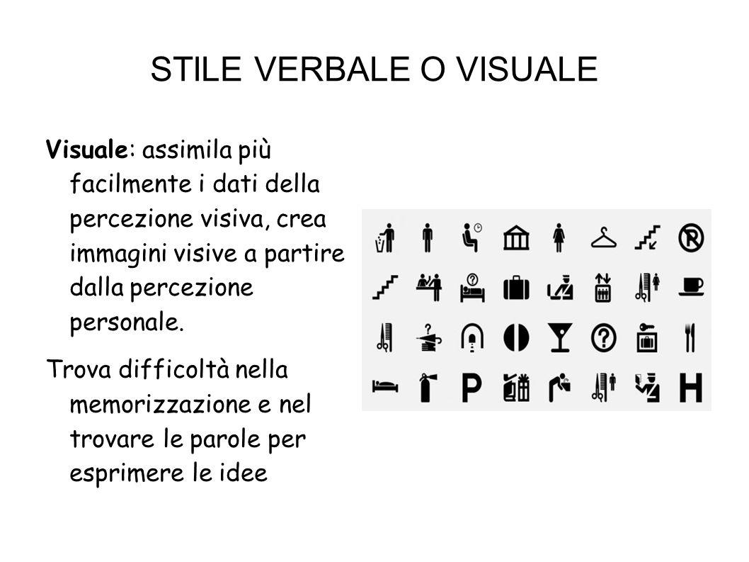 Verbale: assimila più facilmente i dati forniti nella percezione uditiva, immagazzina le proprie percezioni attraverso le parole con le quali le traduce.