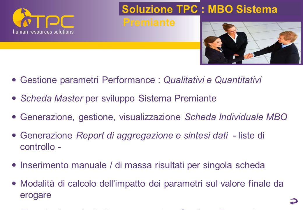 Gestione parametri Performance : Qualitativi e Quantitativi Scheda Master per sviluppo Sistema Premiante Generazione, gestione, visualizzazione Scheda