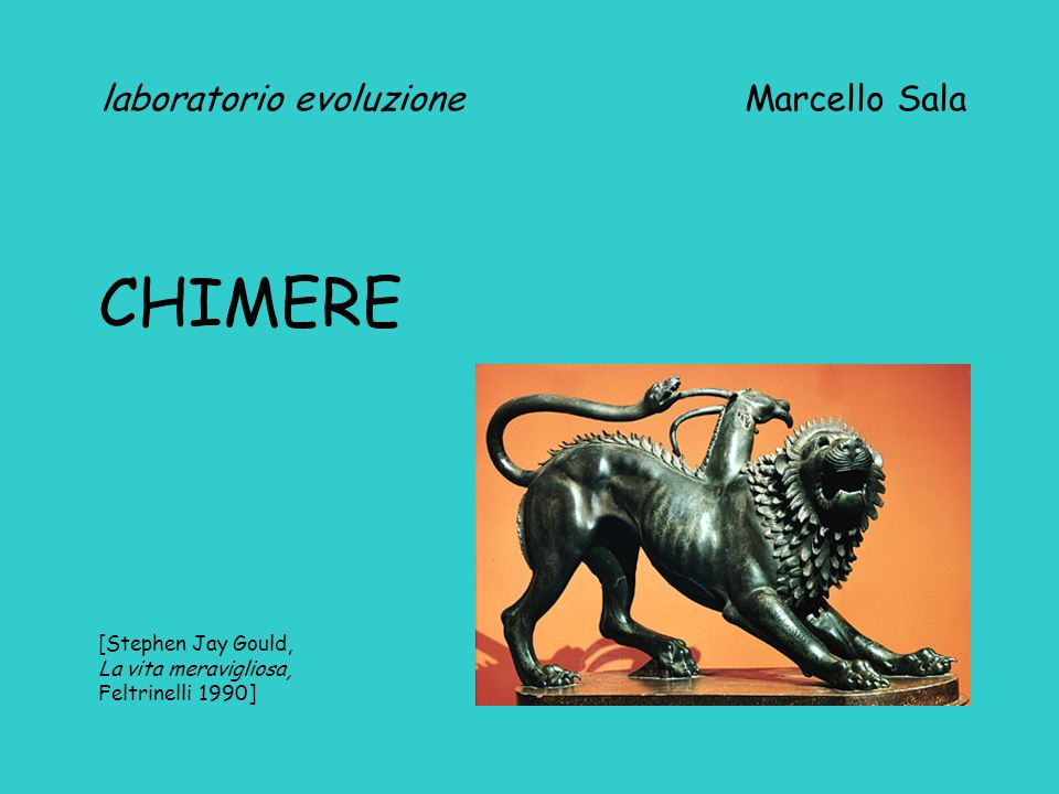 laboratorio evoluzione Marcello Sala CHIMERE [Stephen Jay Gould, La vita meravigliosa, Feltrinelli 1990]