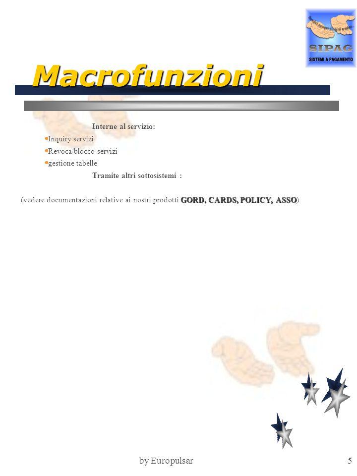 by Europulsar6 Scheda tecnica Ambienti Tecnologici Disponibili Hardware: IBM 30xx Terminali: 3270 like Sistema operativo: MVS-DOS/VSE Tp monitor: CICS/IMS Strutture dati: DB2-VSAM Linguaggio: Cobol compatibile Cobol 2 Standards Progettuali Help in linea Multibanca Trasportabilita Dimensionamenti tecnici Programmi TP: 10 Programmi BATCH: 15 Linee Codice: 50.000 Mappe: 10 Archivi/Tabelle: 10 Oneri di interfacciamento 1 mesi/uomo Manutenzione 12% sul prodotto Mainframe 15% sul prodotto su PC