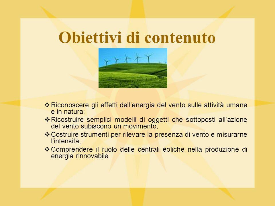 Obiettivi di contenuto  Riconoscere gli effetti dell'energia del vento sulle attività umane e in natura;  Ricostruire semplici modelli di oggetti ch