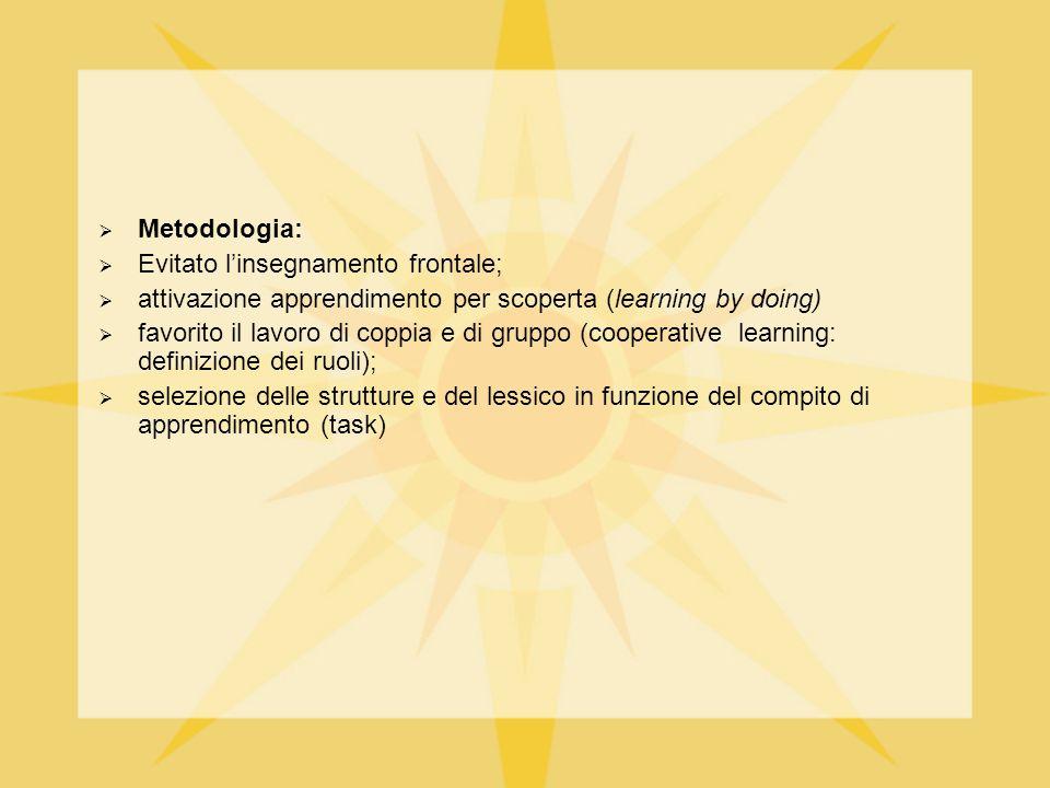  Metodologia:  Evitato l'insegnamento frontale;  attivazione apprendimento per scoperta (learning by doing)  favorito il lavoro di coppia e di gru