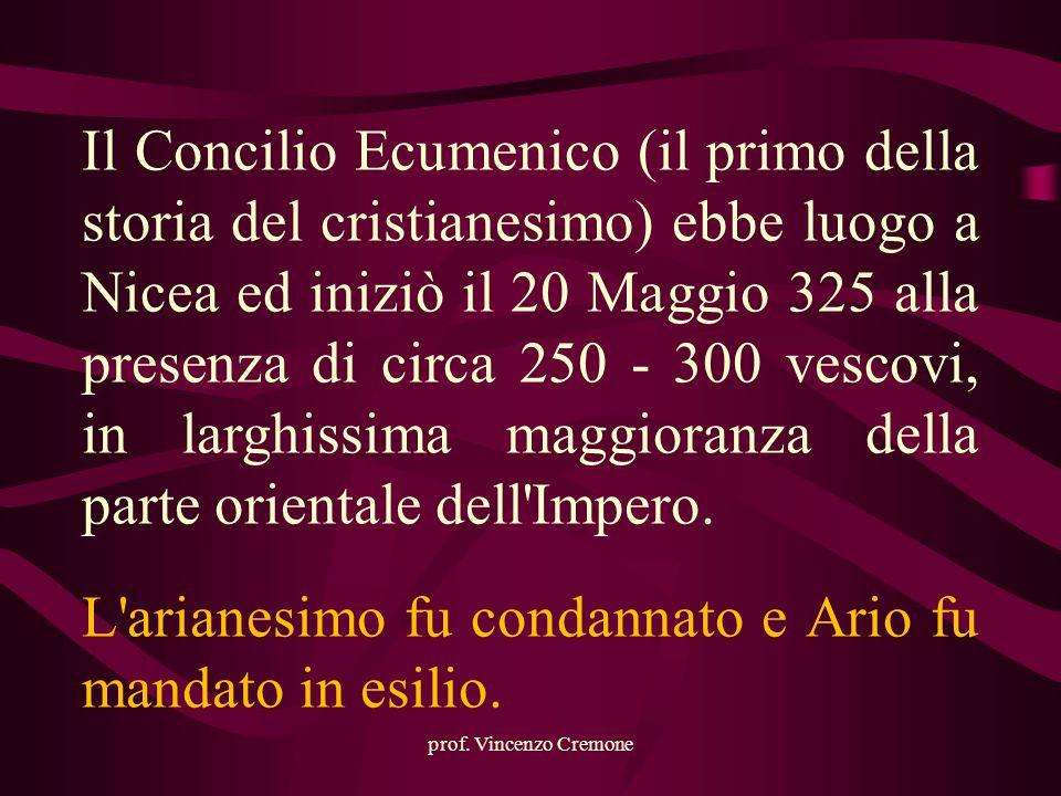 prof. Vincenzo Cremone Il Concilio Ecumenico (il primo della storia del cristianesimo) ebbe luogo a Nicea ed iniziò il 20 Maggio 325 alla presenza di