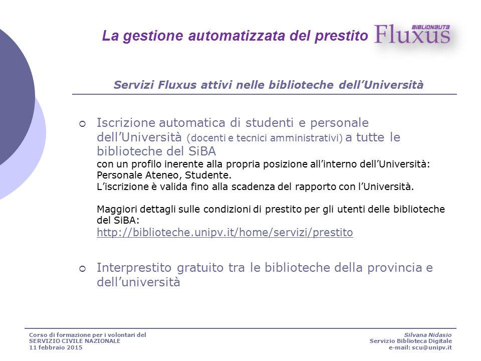  Iscrizione automatica di studenti e personale dell'Università (docenti e tecnici amministrativi) a tutte le biblioteche del SiBA con un profilo iner