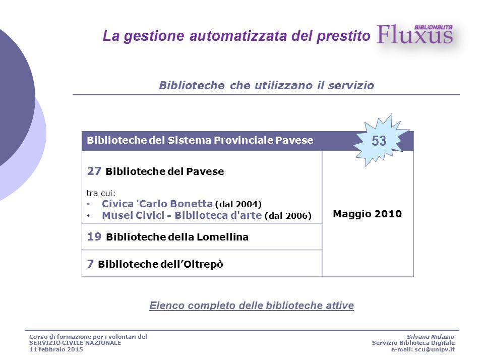 Biblioteche del Sistema Provinciale Pavese 27 Biblioteche del Pavese tra cui: Civica 'Carlo Bonetta (dal 2004) Musei Civici - Biblioteca d'arte (dal 2