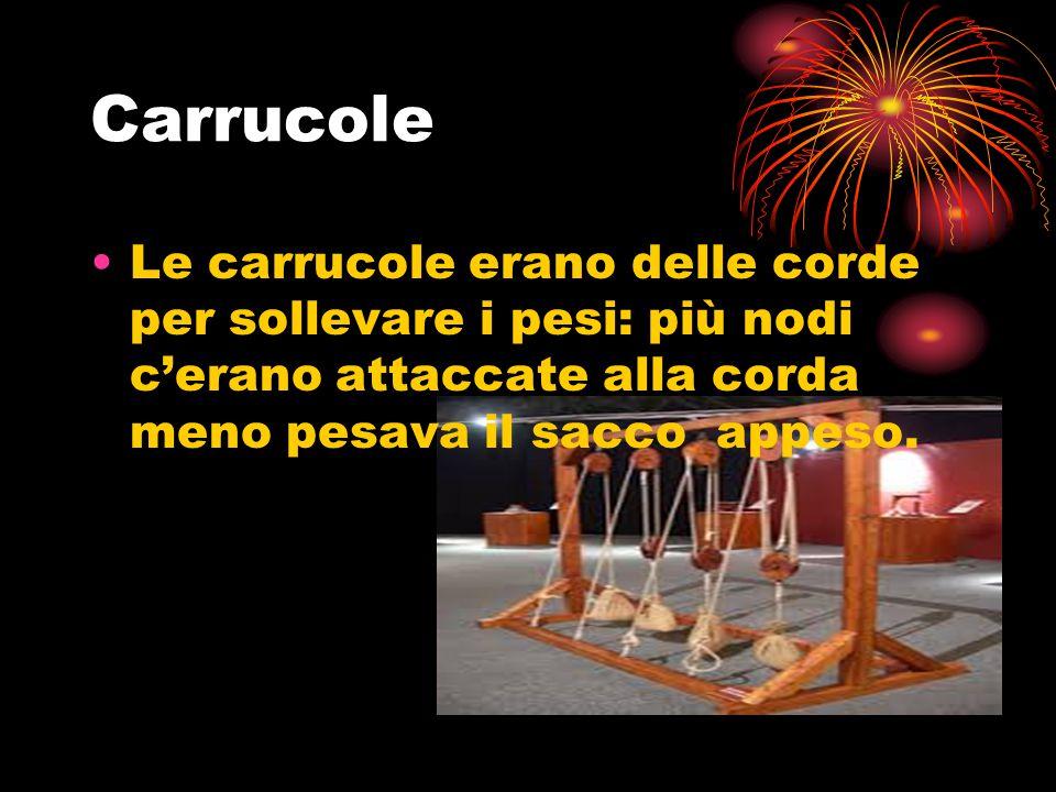 Carrucole Le carrucole erano delle corde per sollevare i pesi: più nodi c'erano attaccate alla corda meno pesava il sacco appeso.