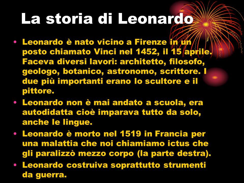 La storia di Leonardo Leonardo è nato vicino a Firenze in un posto chiamato Vinci nel 1452, il 15 aprile. Faceva diversi lavori: architetto, filosofo,
