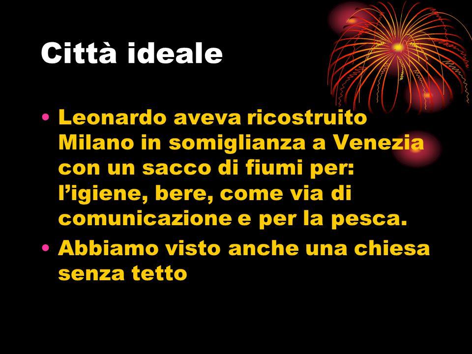 Città ideale Leonardo aveva ricostruito Milano in somiglianza a Venezia con un sacco di fiumi per: l'igiene, bere, come via di comunicazione e per la