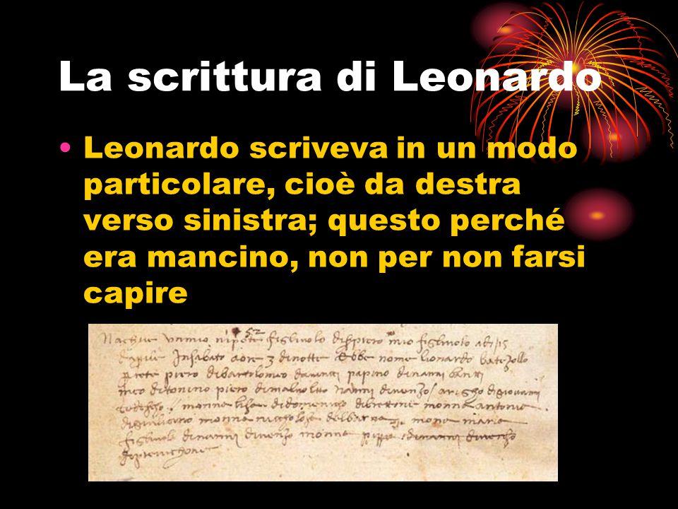 La scrittura di Leonardo Leonardo scriveva in un modo particolare, cioè da destra verso sinistra; questo perché era mancino, non per non farsi capire