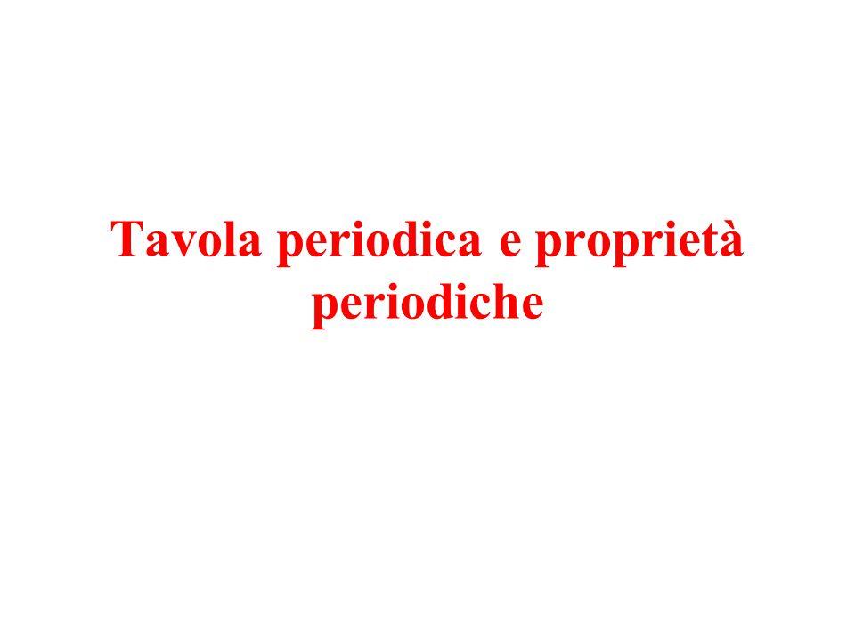 Tavola periodica e proprietà periodiche
