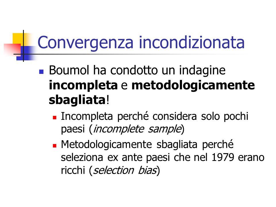 Convergenza incondizionata Boumol ha condotto un indagine incompleta e metodologicamente sbagliata! Incompleta perché considera solo pochi paesi (inco