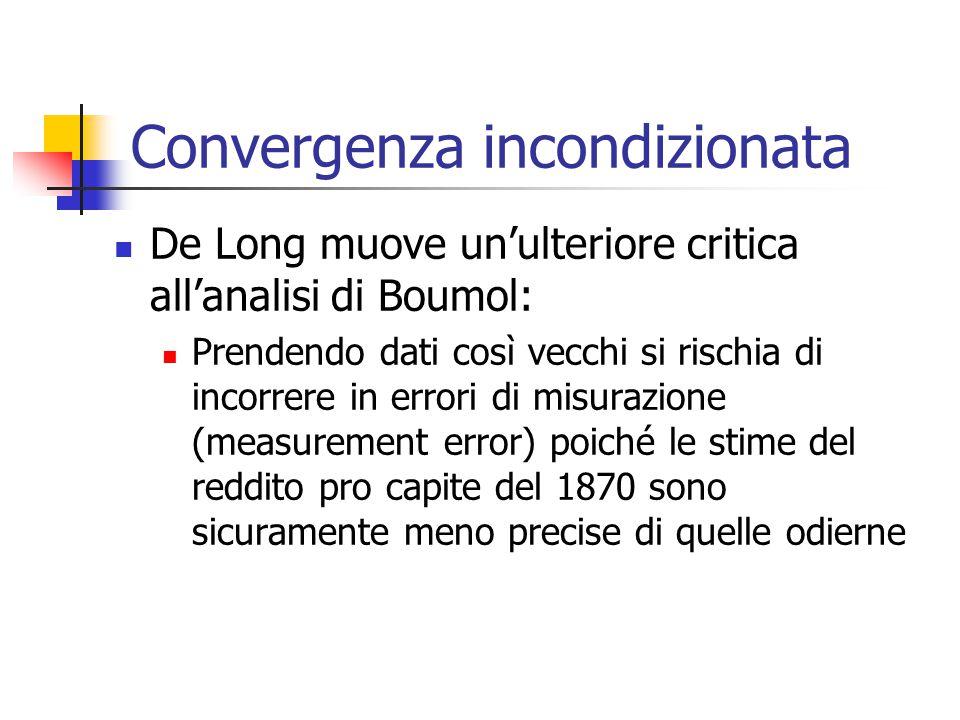 De Long muove un'ulteriore critica all'analisi di Boumol: Prendendo dati così vecchi si rischia di incorrere in errori di misurazione (measurement err