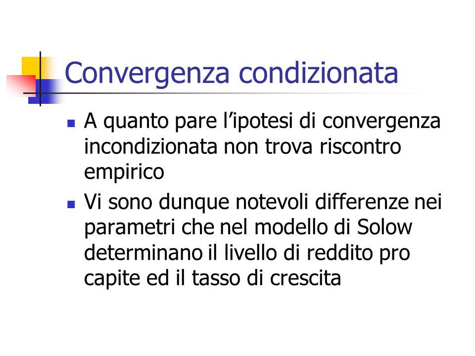 Convergenza condizionata A quanto pare l'ipotesi di convergenza incondizionata non trova riscontro empirico Vi sono dunque notevoli differenze nei par