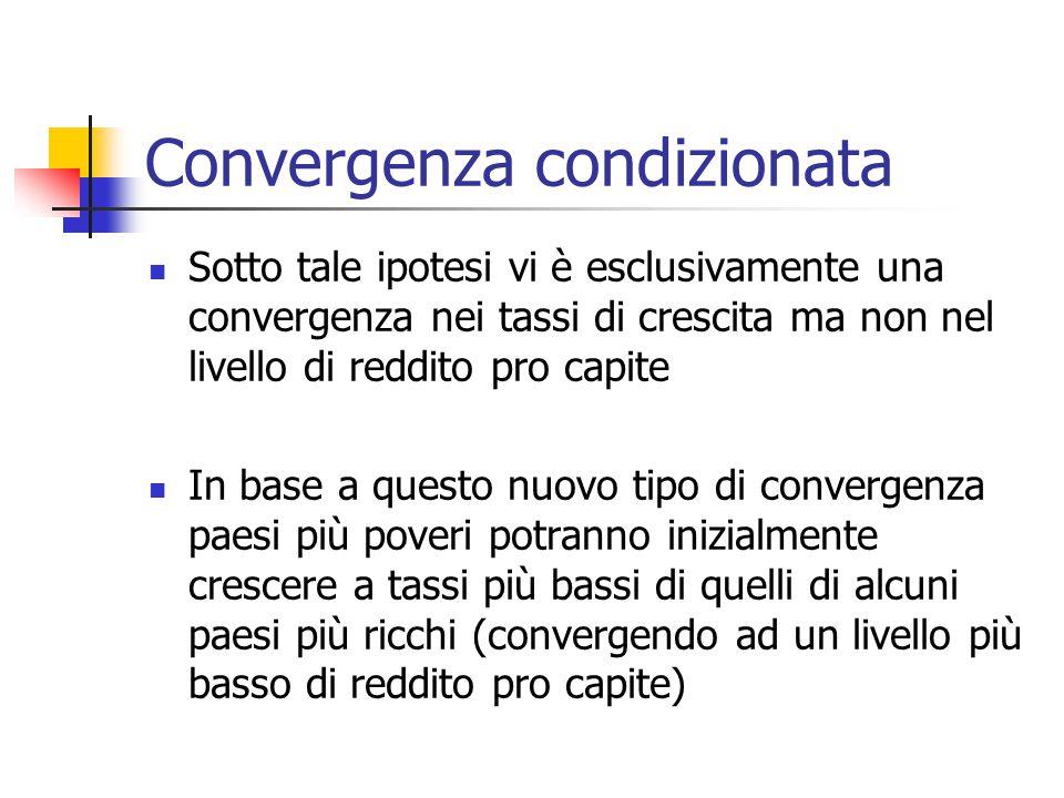 Convergenza condizionata Sotto tale ipotesi vi è esclusivamente una convergenza nei tassi di crescita ma non nel livello di reddito pro capite In base