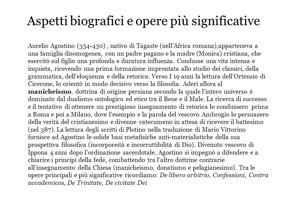 Aspetti biografici e opere più significative Aurelio Agostino (354-430), nativo di Tagaste (nell'Africa romana),apparteneva a una famiglia disomogenea