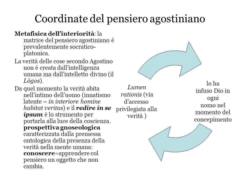 Coordinate del pensiero agostiniano Metafisica dell'interiorità: la matrice del pensiero agostiniano è prevalentemente socratico- platonica. La verità