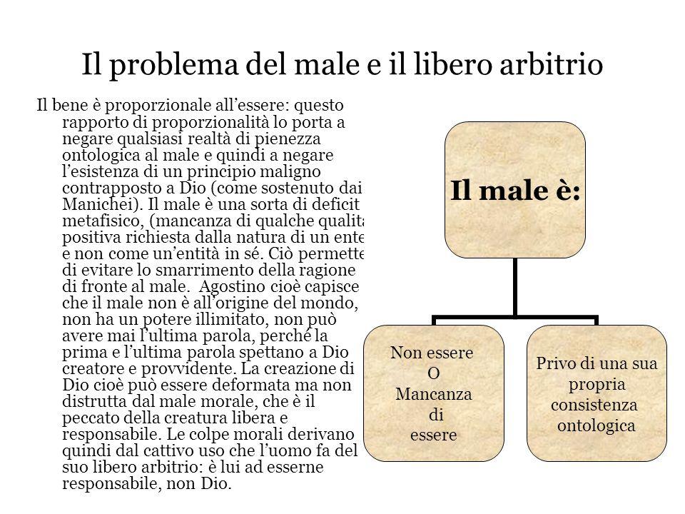 Il problema del male e il libero arbitrio Il bene è proporzionale all'essere: questo rapporto di proporzionalità lo porta a negare qualsiasi realtà di
