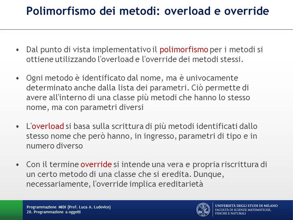 Polimorfismo dei metodi: overload e override Dal punto di vista implementativo il polimorfismo per i metodi si ottiene utilizzando l overload e l override dei metodi stessi.