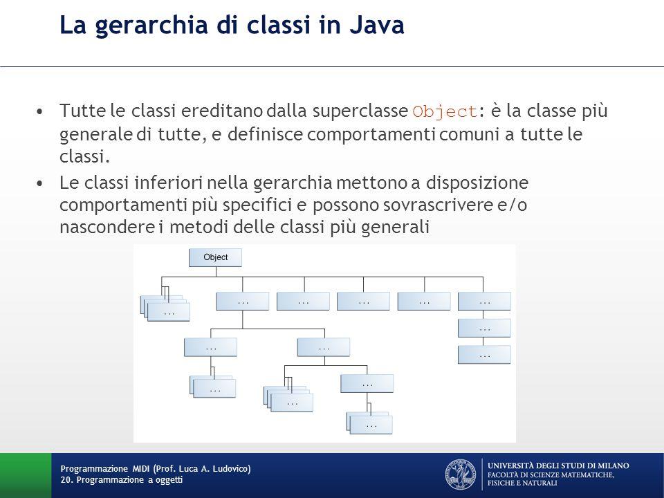 La gerarchia di classi in Java Tutte le classi ereditano dalla superclasse Object : è la classe più generale di tutte, e definisce comportamenti comun