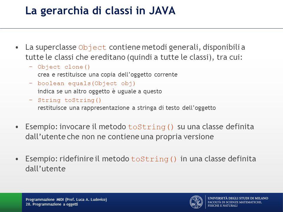 La gerarchia di classi in JAVA La superclasse Object contiene metodi generali, disponibili a tutte le classi che ereditano (quindi a tutte le classi), tra cui: –Object clone() crea e restituisce una copia dell'oggetto corrente –boolean equals(Object obj) indica se un altro oggetto è uguale a questo –String toString() restituisce una rappresentazione a stringa di testo dell'oggetto Esempio: invocare il metodo toString() su una classe definita dall'utente che non ne contiene una propria versione Esempio: ridefinire il metodo toString() in una classe definita dall'utente Programmazione MIDI (Prof.