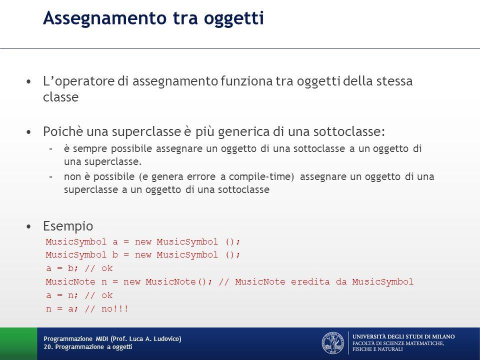 Assegnamento tra oggetti L'operatore di assegnamento funziona tra oggetti della stessa classe Poichè una superclasse è più generica di una sottoclasse: –è sempre possibile assegnare un oggetto di una sottoclasse a un oggetto di una superclasse.