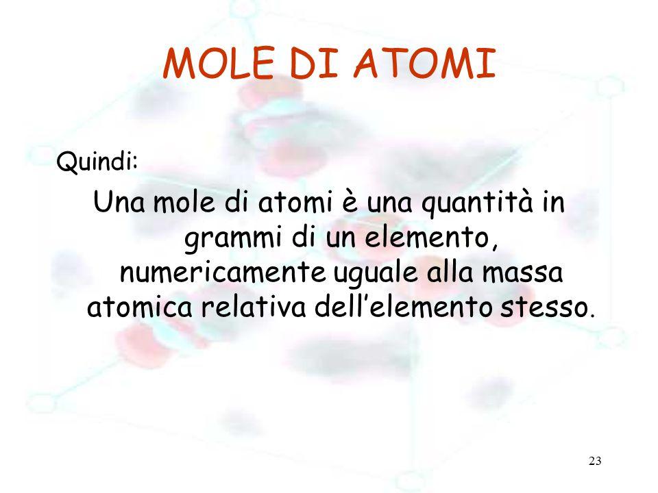 23 MOLE DI ATOMI Quindi: Una mole di atomi è una quantità in grammi di un elemento, numericamente uguale alla massa atomica relativa dell'elemento ste
