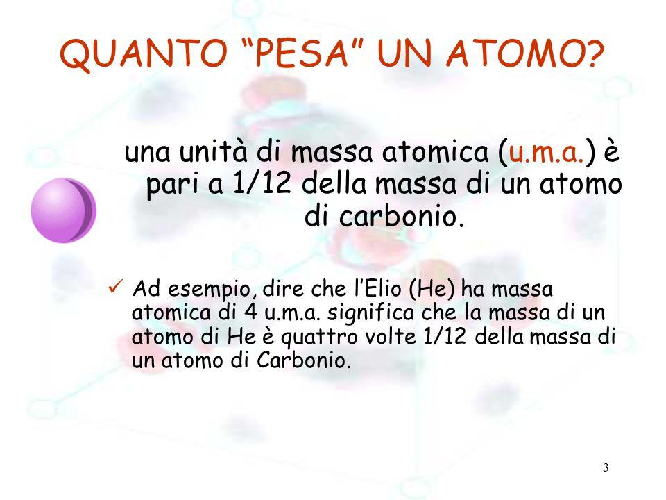 """3 QUANTO """"PESA"""" UN ATOMO? una unità di massa atomica (u.m.a.) è pari a 1/12 della massa di un atomo di carbonio. Ad esempio, dire che l'Elio (He) ha m"""