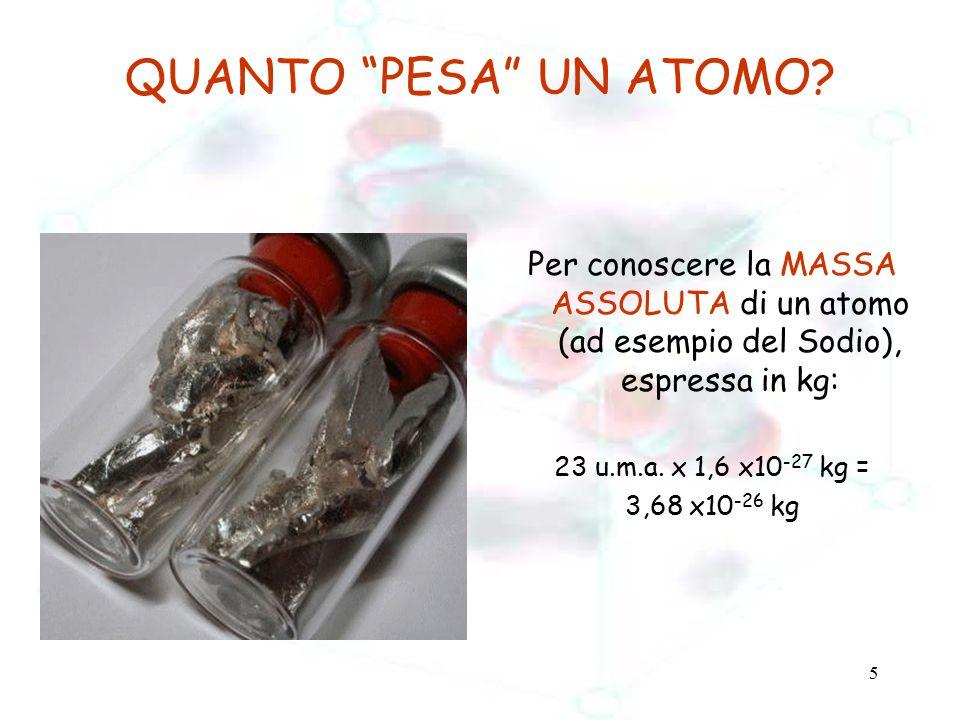 """5 QUANTO """"PESA"""" UN ATOMO? Per conoscere la MASSA ASSOLUTA di un atomo (ad esempio del Sodio), espressa in kg: 23 u.m.a. x 1,6 x10 -27 kg = 3,68 x10 -2"""