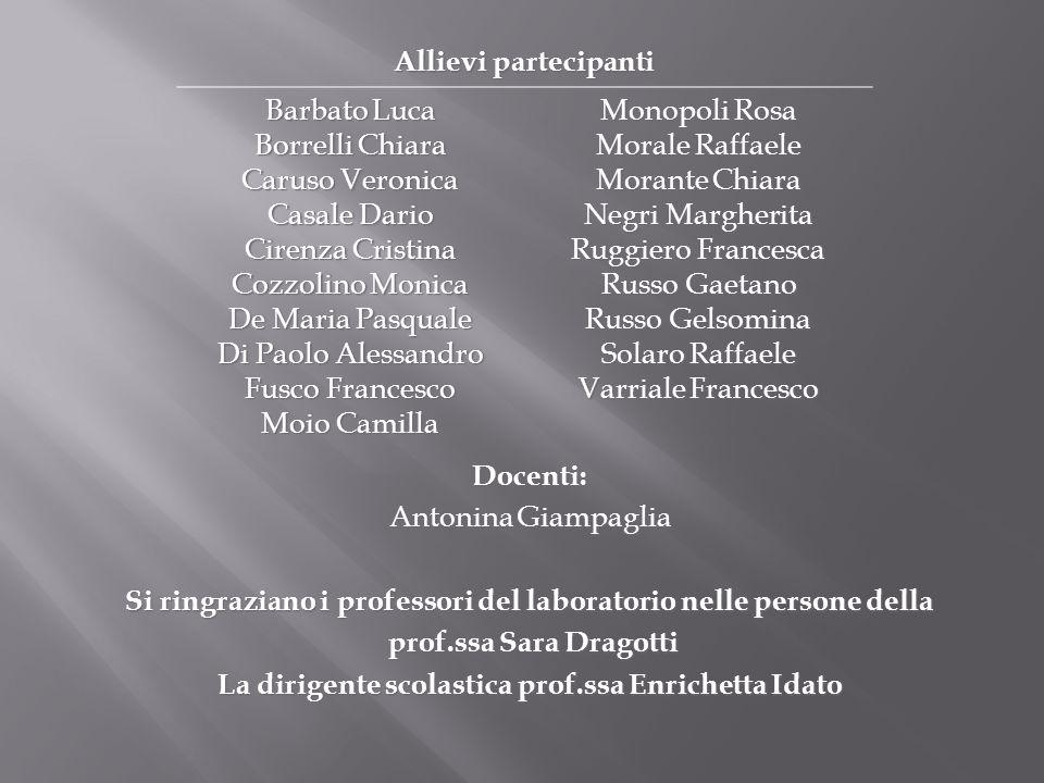 Docenti: Antonina Giampaglia Si ringraziano i professori del laboratorio nelle persone della prof.ssa Sara Dragotti prof.ssa Sara Dragotti La dirigent