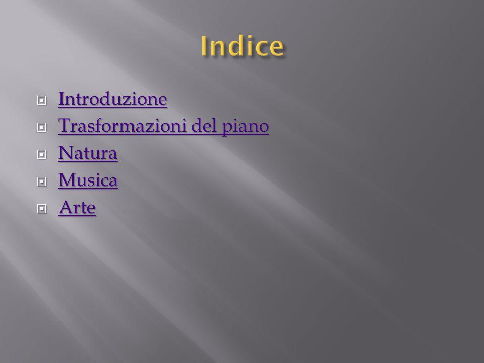  Introduzione Introduzione  Trasformazioni del piano Trasformazioni del piano Trasformazioni del piano  Natura Natura  Musica Musica  Arte Arte