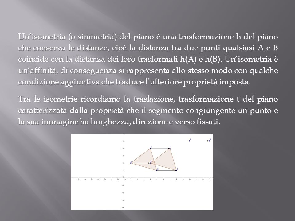 Un'isometria (o simmetria) del piano è una trasformazione h del piano che conserva le distanze, cioè la distanza tra due punti qualsiasi A e B coincid