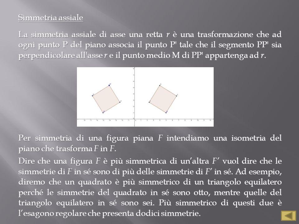 Simmetria assiale La simmetria assiale di asse una retta r è una trasformazione che ad ogni punto P del piano associa il punto P' tale che il segmento