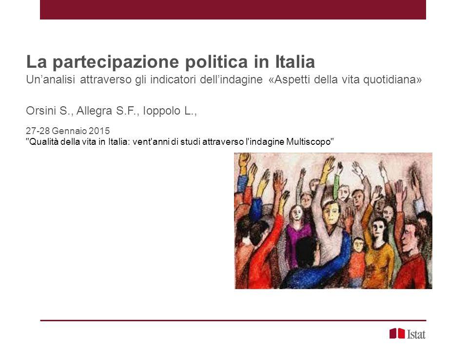 Le modalità di informazione politica – Anni 1998 e 2013 La partecipazione politica in Italia – Orsini, Allegra, Ioppolo – Roma, 27-28 Gennaio 2015 12 Persone di 14 anni e più per modalità con cui si informano di politica.