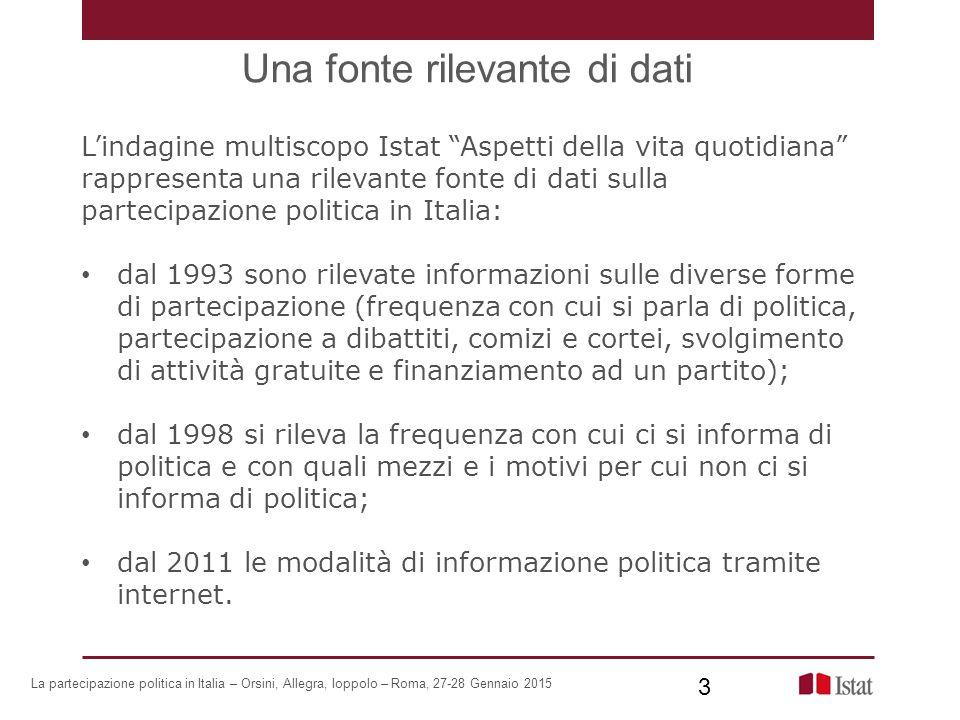 Le modalità di informazione per classi di età Anni 1998 e 2013 14 La partecipazione politica in Italia – Orsini, Allegra, Ioppolo – Roma, 27-28 Gennaio 2015 14 Persone di 14 anni e più per modalità con cui si informano di politica.