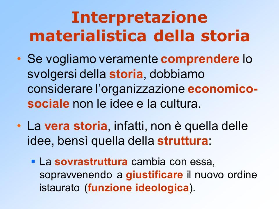 Interpretazione materialistica della storia Se vogliamo veramente comprendere lo svolgersi della storia, dobbiamo considerare l'organizzazione economi