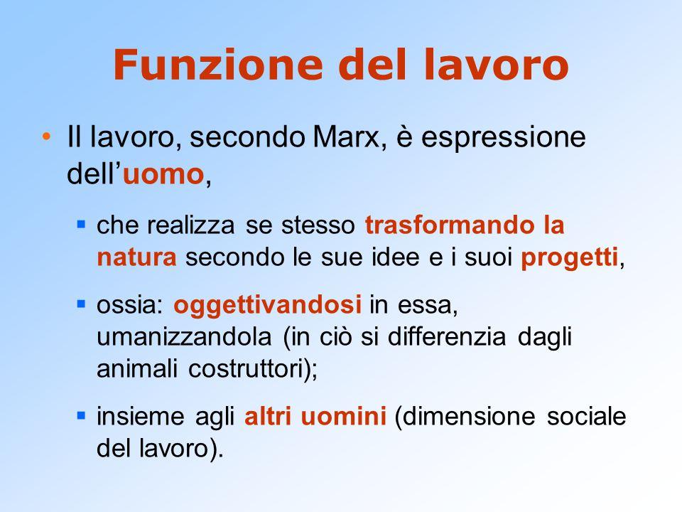 Funzione del lavoro Il lavoro, secondo Marx, è espressione dell'uomo,  che realizza se stesso trasformando la natura secondo le sue idee e i suoi pro